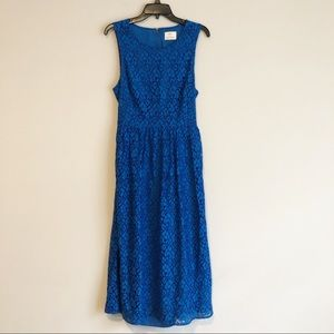 Anthropologie Blue Lace Midi Dress